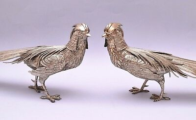 LARGE PAIR OF SOLID SILVER PHEASANTS 40 cm / 18.7 in. WEIGHT 737 gr / 26 ounce