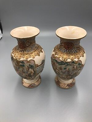 Spectacular Matching Pair Of Japanese White Satsuma Vases With Scholar Scene