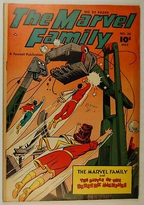 """The Marvel Family #35 (May 1949, Fawcett) """"The Battle of the Berserk Machines!"""""""