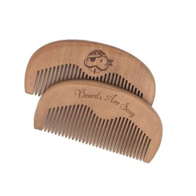 Wooden Beard & Mustache Comb - Beards Are Sexy Pirate (Engraved)