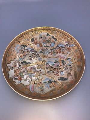 Antique Japanese Satsuma Plate With Warriors Dieties & Scholars Lohans