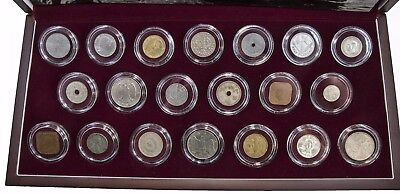 Set of 20 World War II Coins - Archival Cases with Wooden Display Case