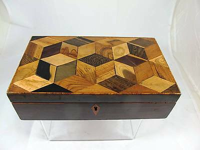 19th CENTURY PARQUETRYBOX WITH 9 DIFFERENT WOODS C1850'S