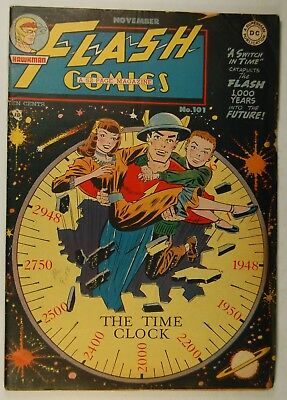 """Flash Comics #101 (Nov 1948, DC) """"A Switch in Time"""" - The Black Canary - Hawkman"""