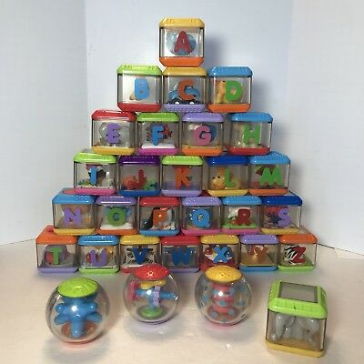 Fisher Price 26 Alphabet Peek A Blocks Complete Set Plus Roll A Round Letter Lot