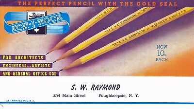 1930's Ink Blotter Trade Card for Pencils by S.W. Raymond,  Poughkeepsie, NY