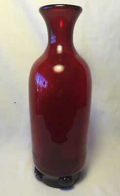 "Vtg 10.5"" Ruby Red Glass Wine Decanter w Bottom Rim Applied Medallion Buttons"