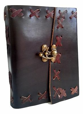 Rustic Black Handmade Genuine Leather Journal Diary with Lock - Coptic Bound