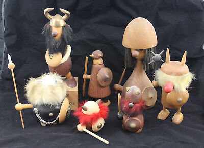 Group of Wood Teak Danish Vikings Figurines Sallingboe from Melchior Estate
