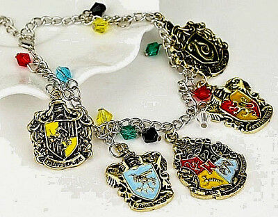 Harry Potter Charm Bracelet Jewellry Good Luck Silver Crystals Film Book Old UK