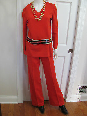 VTG 70s MOD SPY GIRL *AGENT 99 RED Double-Knit BELL-BOTTOM TUNIC PANT SUIT $35