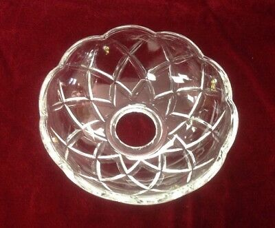 "Vtg Crystal Clear Glass Chandelier Bobeche Lamp 4"" x 1.25"" Part 4 Pin Holes"