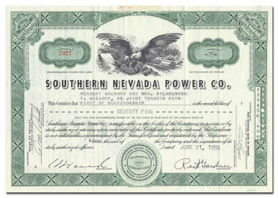 Southern Nevada Power Co. Stock Certificate (Hoover Dam Power)