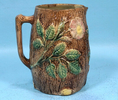 Antique French Majolica Pitcher Sarreguemines? Flowers Tree Branch Hunt c1880