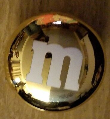 """M&M Round Plastic Gold Metallic Colored Candy Shaped Storage Container 6.5"""""""