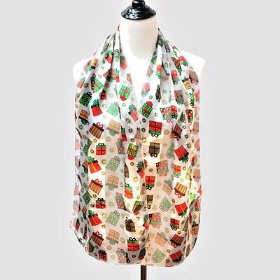 "Christmas Scarf White  with  gifts and Snowflakes  Silk Feel Polyester 13"" x 58"""