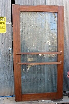 Antique Oak Door Hardwood full Glass, Brass push bars on both sides, foot stop