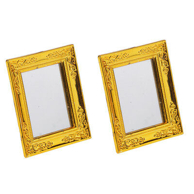 2x Dollhouse Miniature Gold Frame Framed Mirror Victorian Style Wall Decor