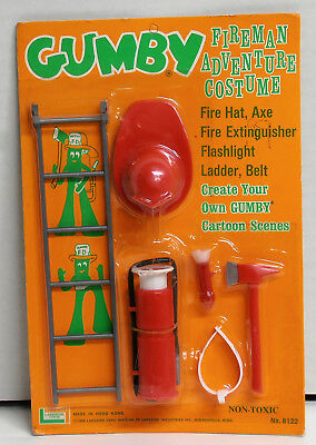 1965 Gumby Fireman Adventure Costume by Lakeside Toys Made in Hong Kong NIP