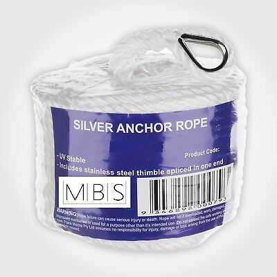 Silver Anchor Boat rope Mooring line 8mm x 50mt Stainless steel thimble 650kg