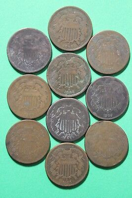 Lot of 10 CULL Two 2 Cent Coins Exact Coins Pictured Flat Rate Shipping OCE031