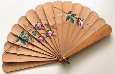 ** VINTAGE / ANTIQUE WOODEN FOLDING FAN - Hand painted - VGC