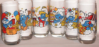 SMURFS Collectible Glasses~Complete set of 6~Wallace Berrie 1983~MINT!