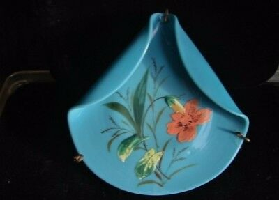 Victorian Hand Painted Floral Blue Milk Glass Card Holder Folded Plate in Stand