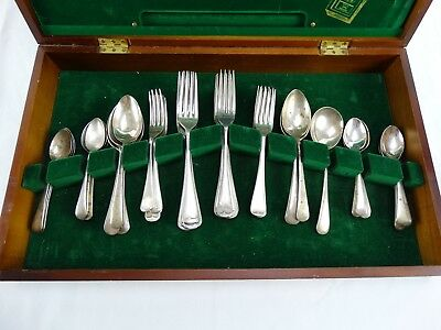 Boxed Collection of Silver Plated Old English Spoons & Forks BULK LOT Inc W&H