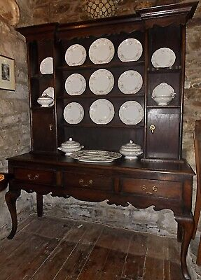 Antique 18th Century style oak DRESSER cabriole legs rack 3 drawer sideboard