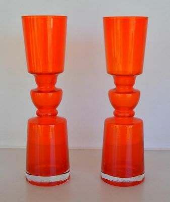 Vintage Retro Orange Art Glass Hoop Vases 1960's