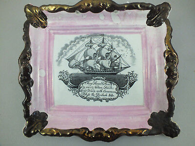 A  Sunderland Lustre Plaque With A Black Transfered Ship 19Thcentury