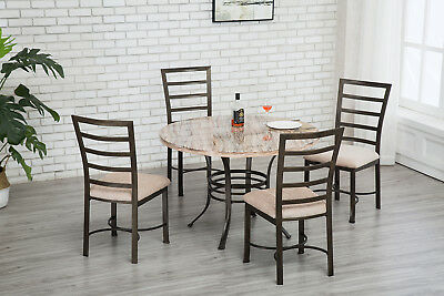 Round Dining Table Upholstered Dining Chairs Set Metal Kitchen Pub Breakfast NEW
