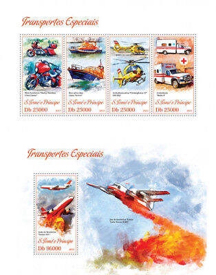 Special Transport Cars Helicopters Boats Sao Tome and Principe MNH stamp set