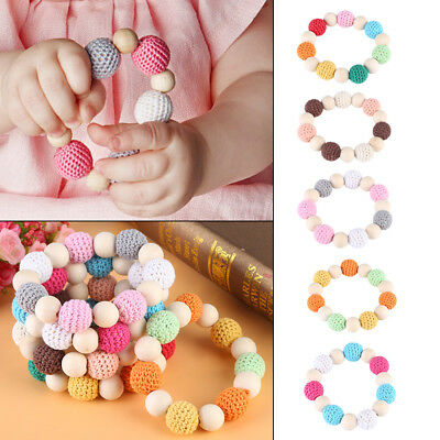 Handmade Wooden Baby Teether Bracelet Round Beads Teething Ring Infant Toy Gift