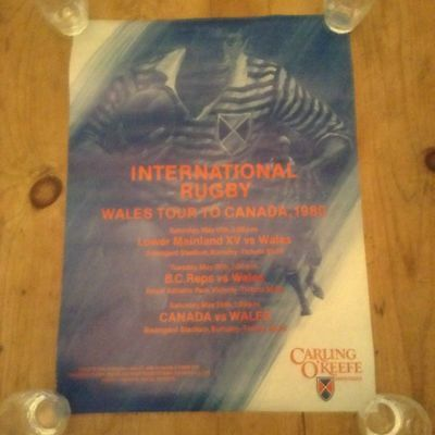 Wales Rugby Tour Of Canada 1980 Rare Original Stadium Poster Very Good Condition
