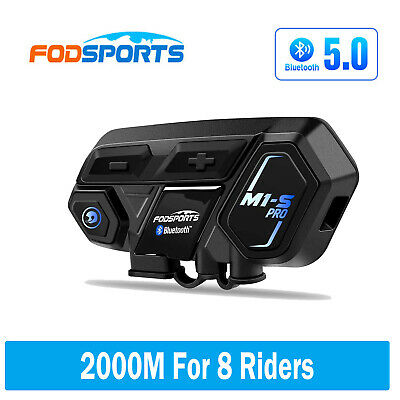 2x Motorcycle Interphone Intercom Helmet Bluetooth GPS Communicator FM Radio