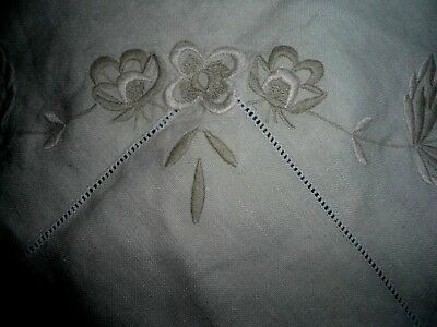 "A Pretty  Beige  Embroidered Linen Tablecloth  51"" Square"