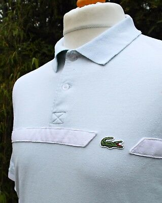 Lacoste Sky Blue Pique Polo Shirt - XXL - Size 7 - Mod Ska Scooter Casuals Skins