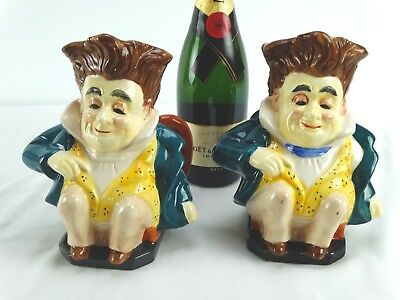2 big Hand Painted Porcelain Handled Toby Jug Seated Dapper Gent on Chair Japan
