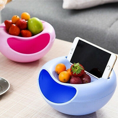 Double Layer Snack Fruit Plate Bowl Dish Containers Phone Holder Home Lazy Tools