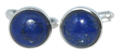 Sterling 925 SILVER Blue Lapis Lazuli Cufflinks, Round Cuffs, Authentic Gemstone