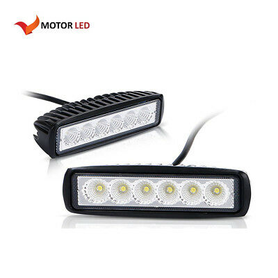 2X 18W 6inch Flood LED Work Light Bar Driving Lamp 4WD SUV Truck UTE Offroad ATV