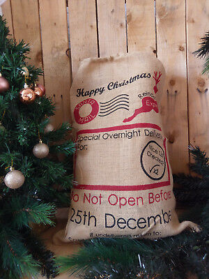 Christmas Stocking Burlap Santa Sack Custom Name Hessian Potato Sack Large Sack