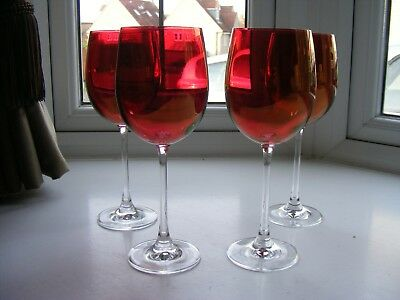 4 x Vintage Ruby Stain Crystal Glass Red Wine Glasses