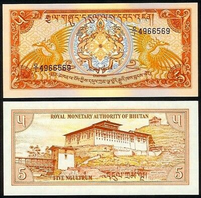 Bhutan 5 Ngultrum Nd(1985) P14 Uncirculated