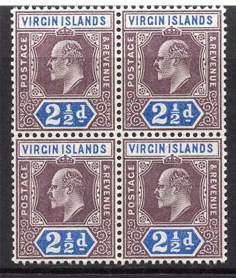 Virgin Islands Block of Four 2 1/2d Stamps c1904 Mounted Mint & Unmounted Mint