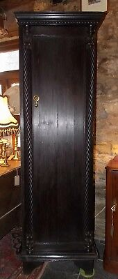 Antique tall slim ebonised CUPBOARD CABINET carved 1 door shelves oak? mahogany?