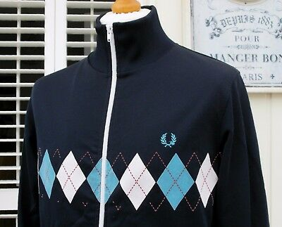Fred Perry Navy Argyle Print Track Jacket - M/L - Ska Mod Scooter Casuals Skins