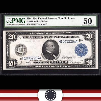 Fr 995 1914 $20 ST LOUIS Federal Reserve Note FRN  PMG 50  H10032294A